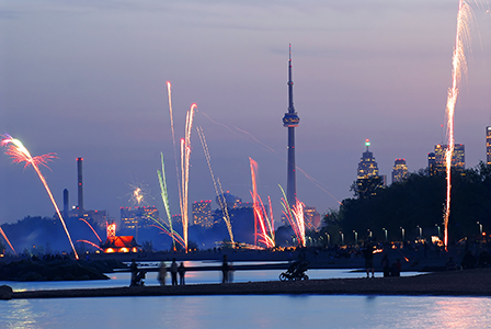 fireworks during national day celebrations in toronto canada