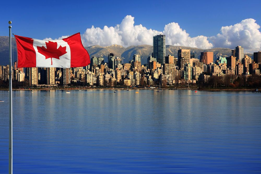Canada city with flag in the background