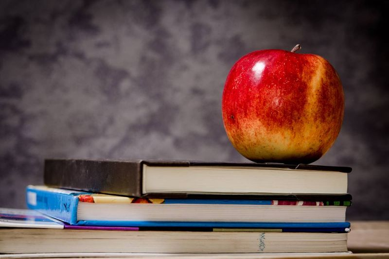 apple on a pile of books education | immigrate to Canada