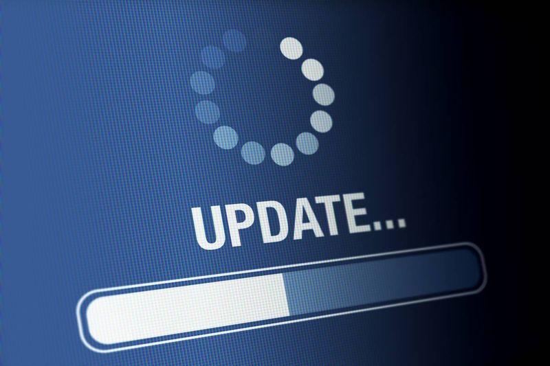 computer update on blue computer screen
