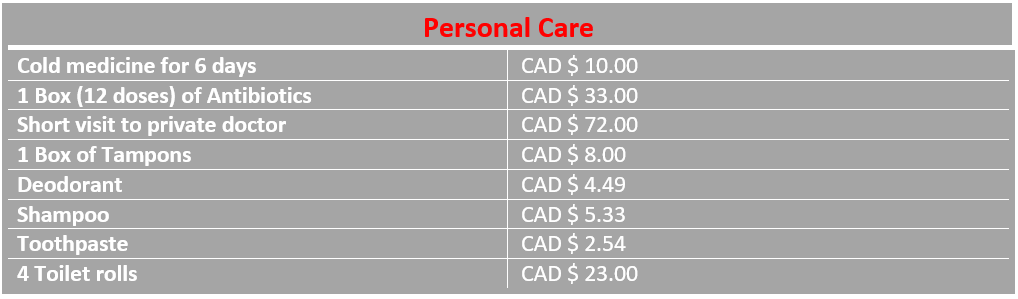infograph of personal costs Edmonton Canada