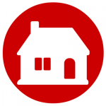 white and red house icon