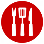 icons of fork, spatula and knife