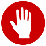 red and white icon of hand