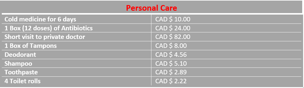 Table average costs of personal care Ottawa