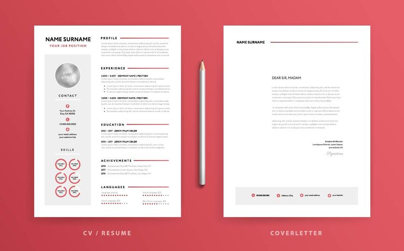 cover letter and resume on red background
