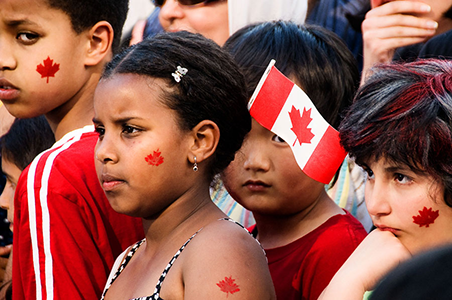 young children during Canada day celebrations speech