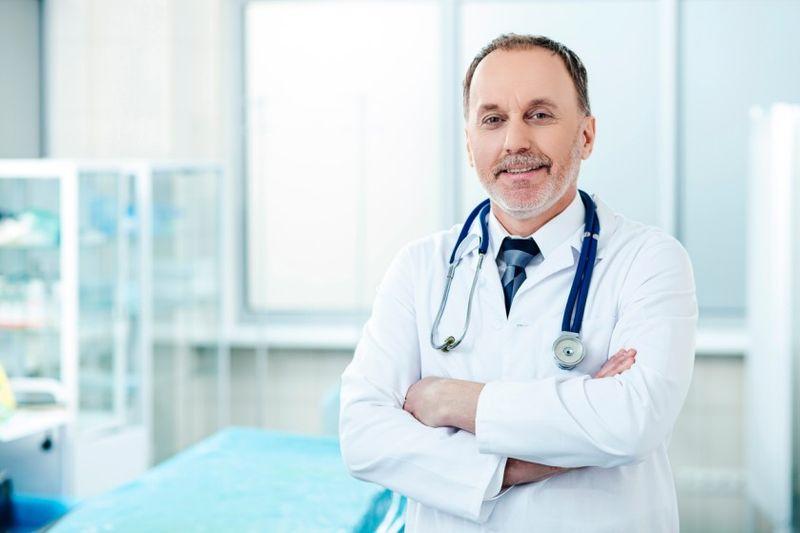 doctor posing in hospital