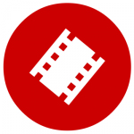 red and white film reel icon