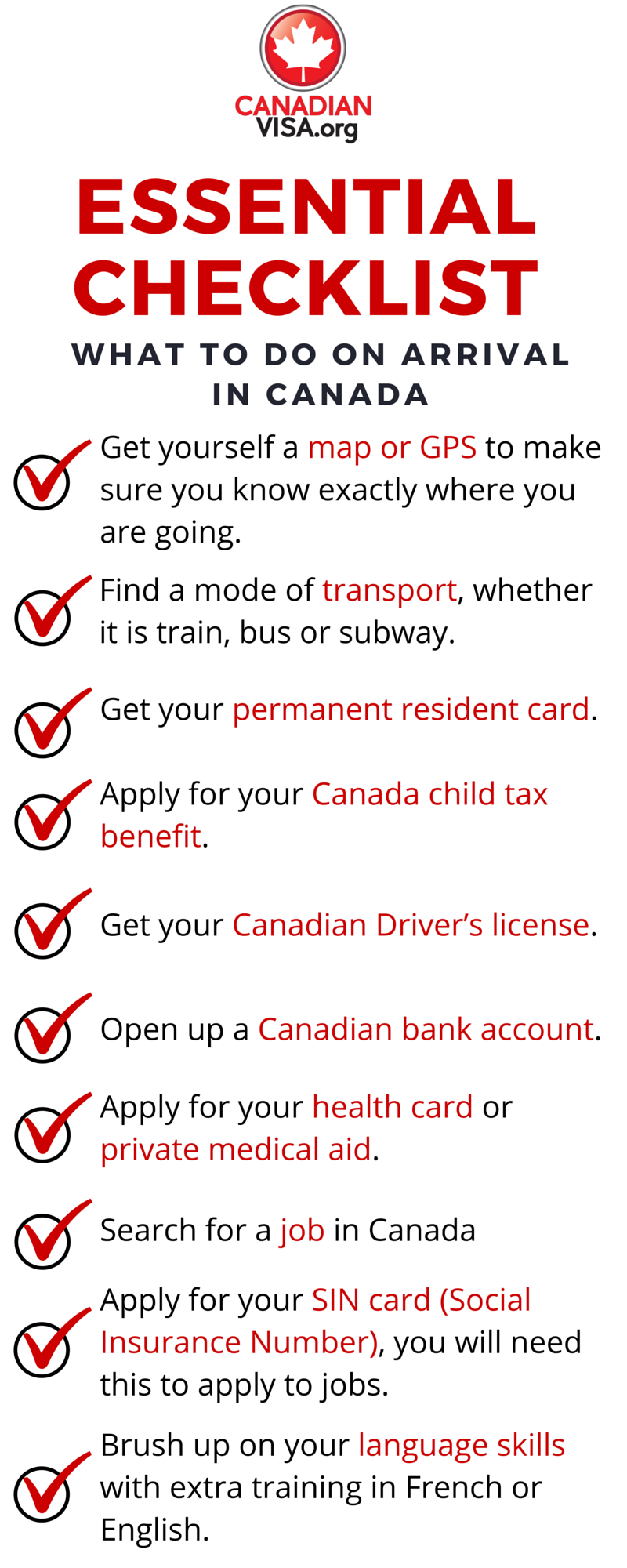 infograph checklist what to do when you arrive in Canada