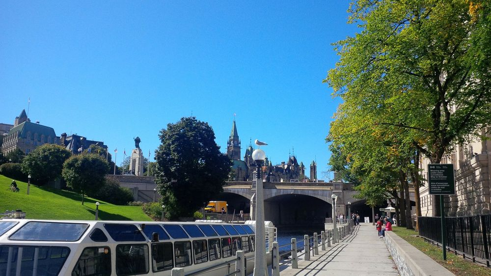 a sunny day along the rideau canal in ottawa