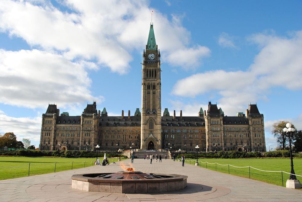 front view of the parliament hill in ottawa