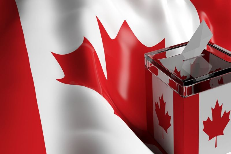 Express Entry ballot box in front of Canadian flag