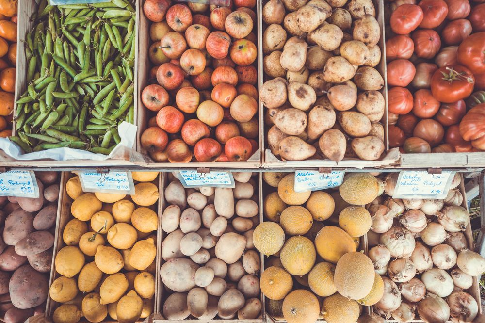 fresh fruit and vegetable at market