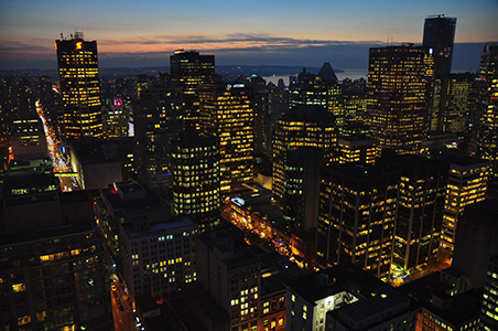 The city of Montreal night skyline