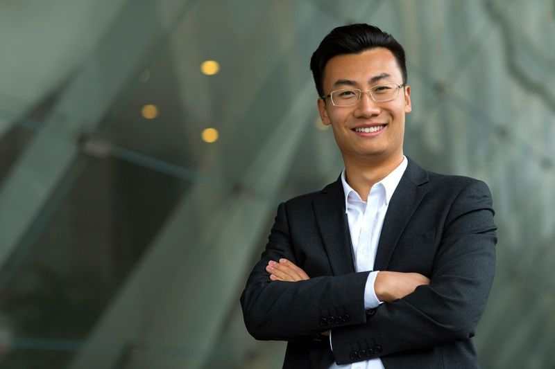 happy asian businessman