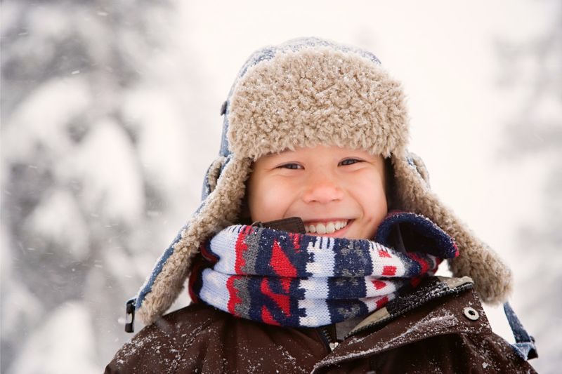 school child in snow