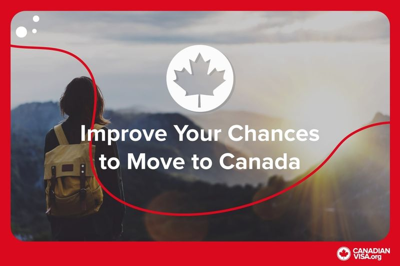 Woman wearing yellow backpack staring at Canada landscape | Improve Your CRS Score