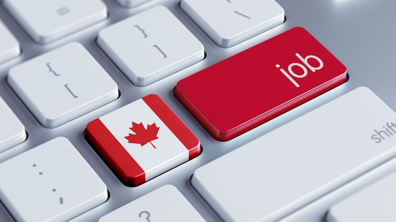 keyboard with Canadian flag and job button