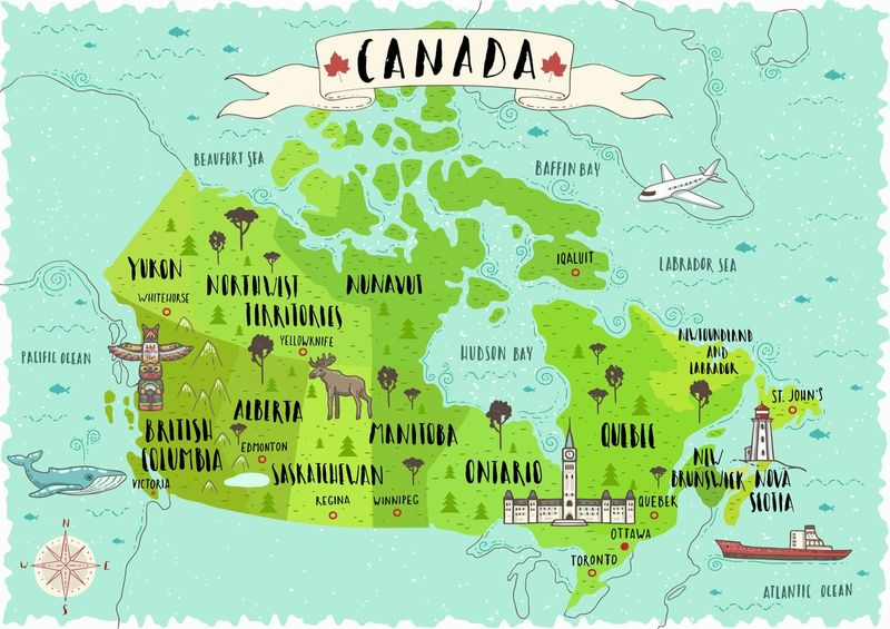 map of Canada and its provinces