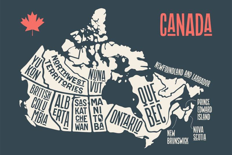 map of Canada on charcoal background with red maple leaf | Provincial Nominee Program PNP