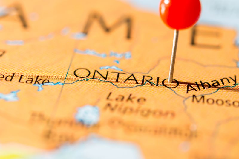 Map of Ontario, Canada