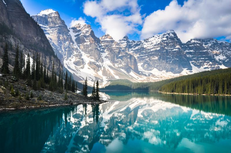 Moraine Lake in front of  Canadian Rockies mountains with trees and snow | apply for Canadian permanent  residency