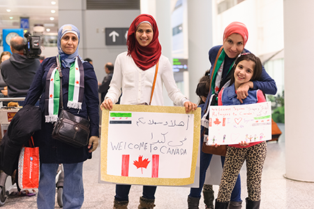 Muslim immigrants arriving at canadian airport