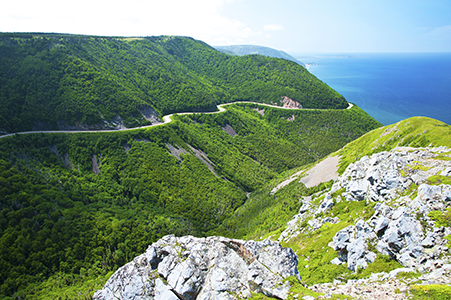 Cabot Trail in Nova Scotia in spring