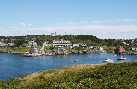 coastline of small port town