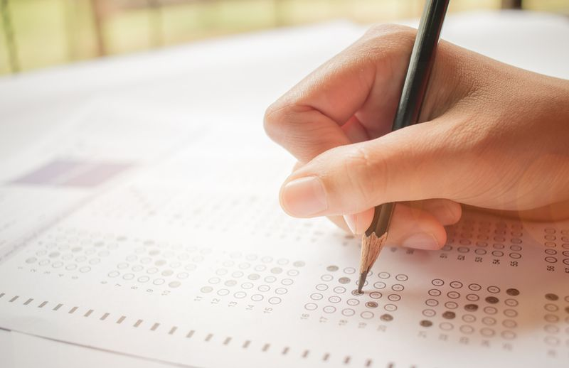 Person completing evaluation test.