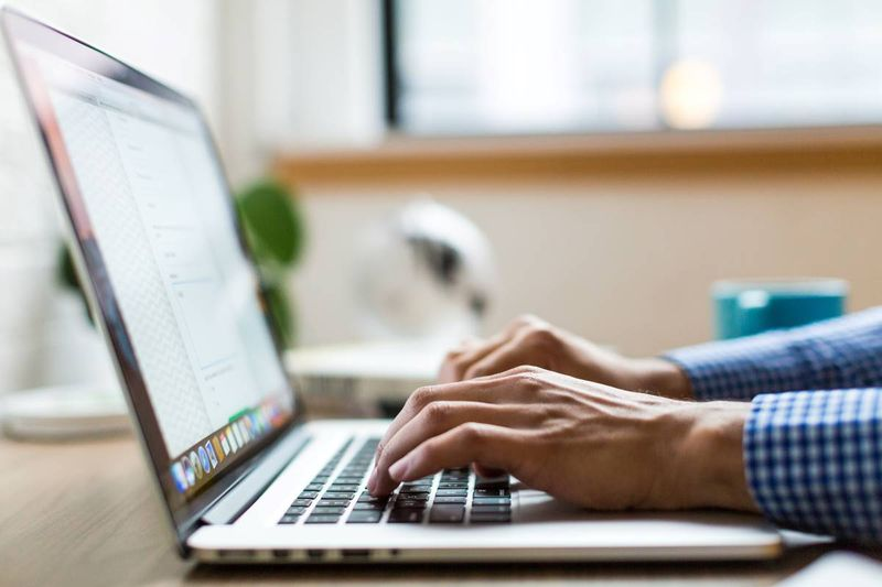 person applying for visa on laptop