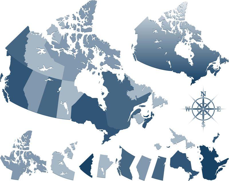 provinces of Canada map blue compass