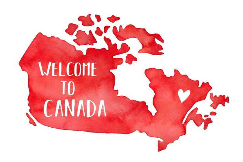 red map welcome to canada heart