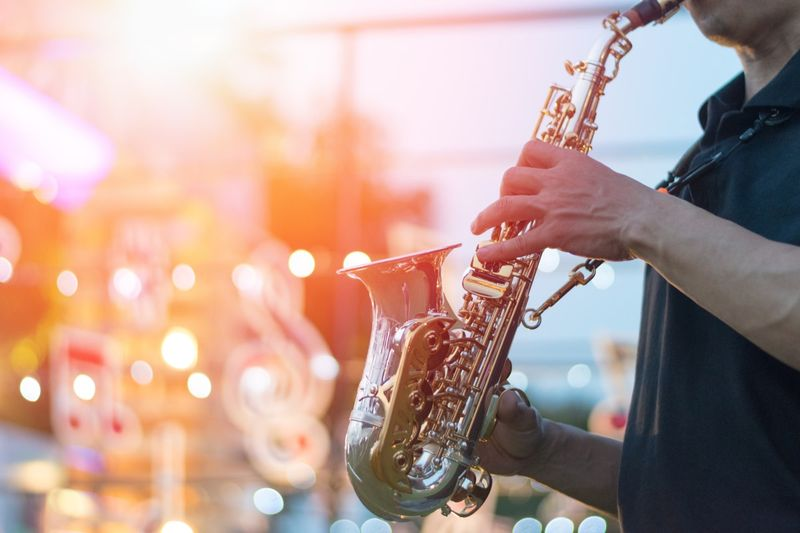 saxophonist playing at a jazz festival