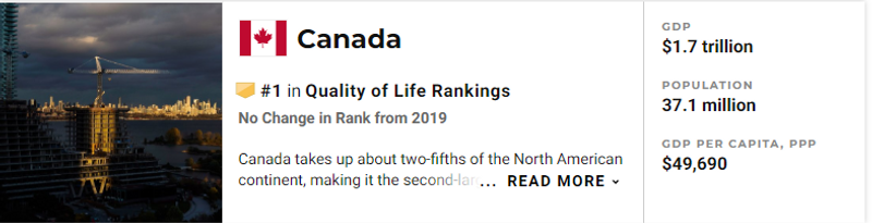 Canada ranks number one in high quality of life | US News and World Reports |  Beat the Blues: Work in Canada for High Job Satisfaction