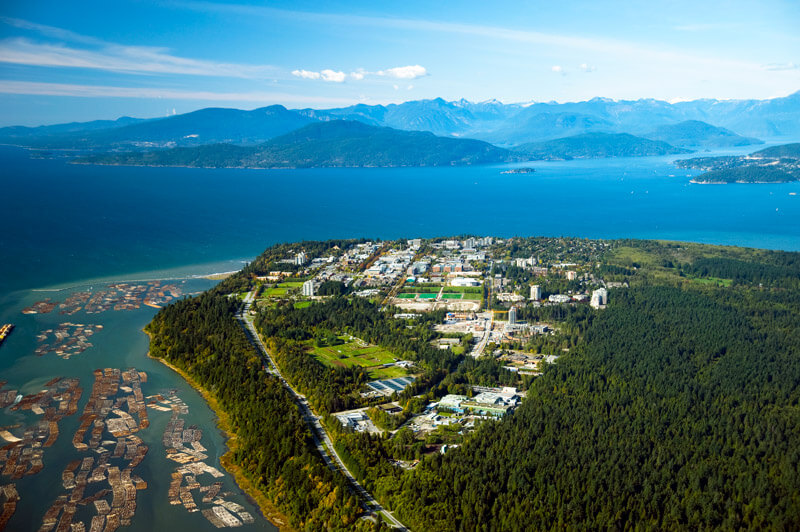 View of Vancouver coastline with the UBC