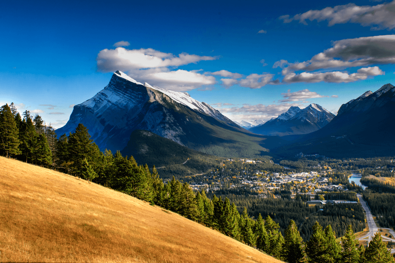 spring overlooking a canadian mountain town
