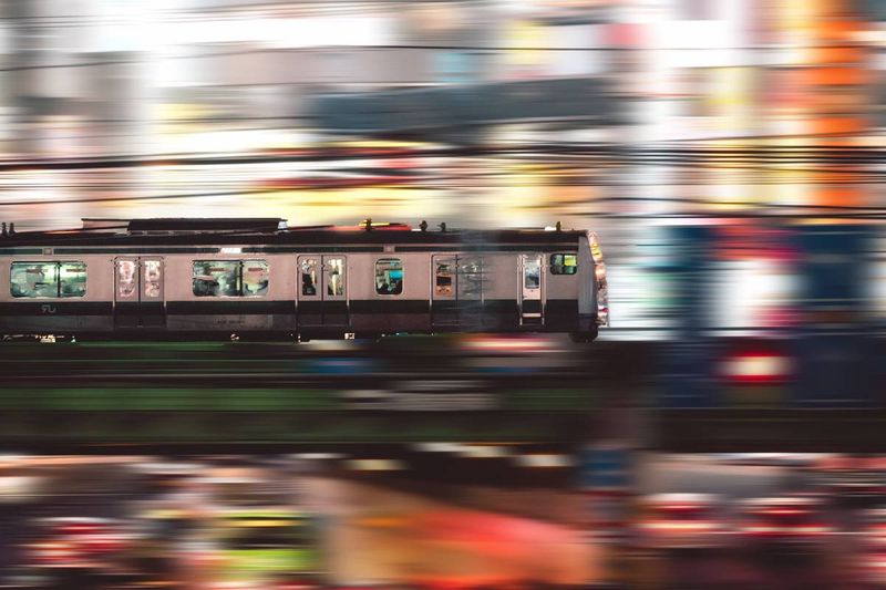 speeding train blurred colorful background | immigrate to Canada