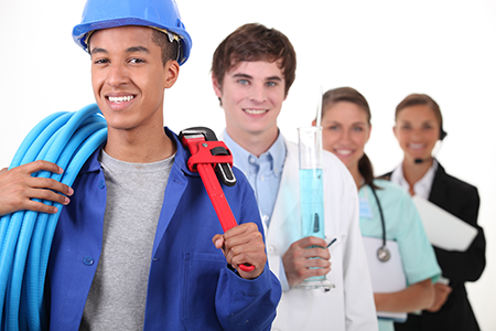 Group of skilled workers carrying work tools