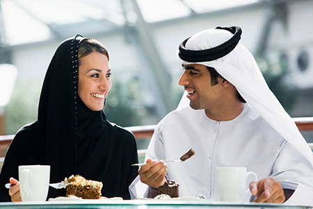 Middle eastern couple smiling