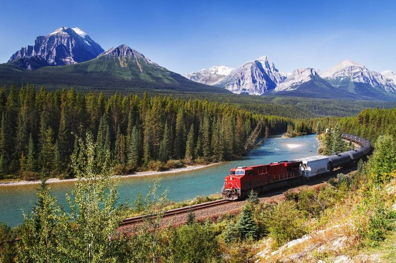 red train in Bow Valley Canada