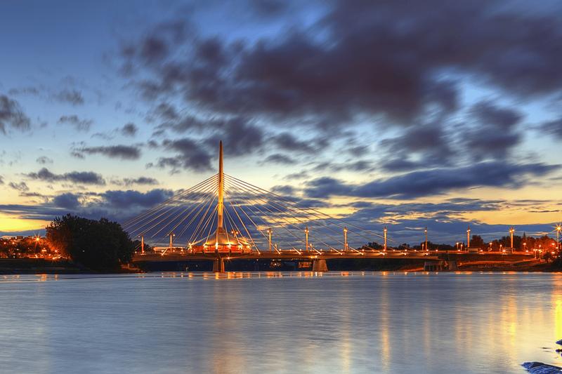 Winnipeg bridge at sunset, Manitoba