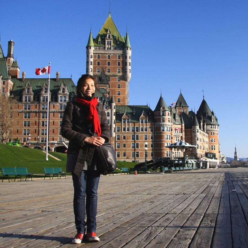 young woman on holiday in quebec